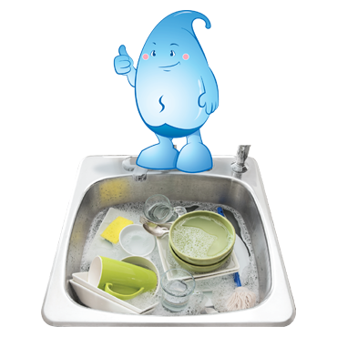 Do not wash dishes and vegetables under a running tap. Wash them in a sink or container filled with water.